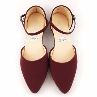 Detail Gambar TrendiShoes Sepatu Wanita Flat Shoes d'Orsay Ankle Strap SO02 - Maroon Terbaru