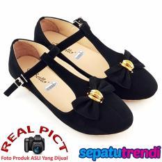 TrendiShoes Sepatu Wanita Flat Shoes Suede T Strap Bowtie BO09 - Black