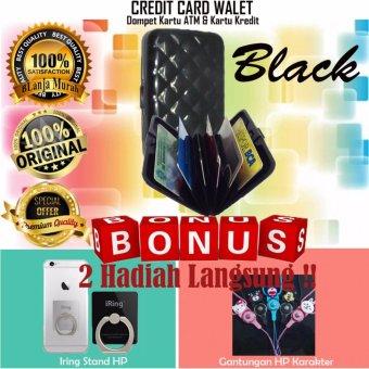 Trend's Dompet Kartu ATM & Kartu Kredit - Credit Card Wallet -Black Gratis Iring Stand