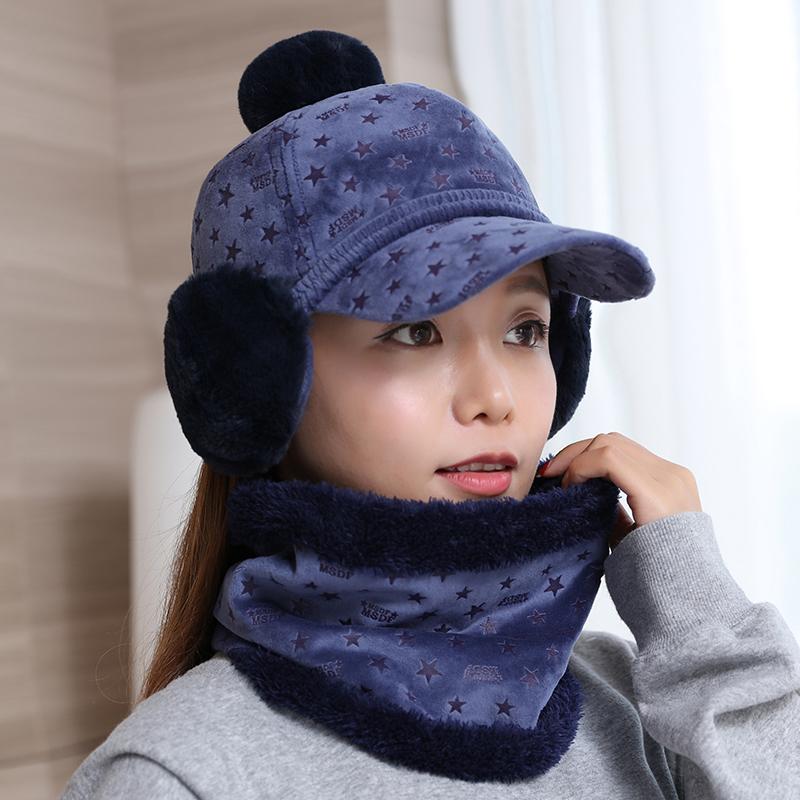 Cheap online Tuan Korea Fashion Style perempuan musim dingin bintang topi topi topi baseball (Biru ungu)