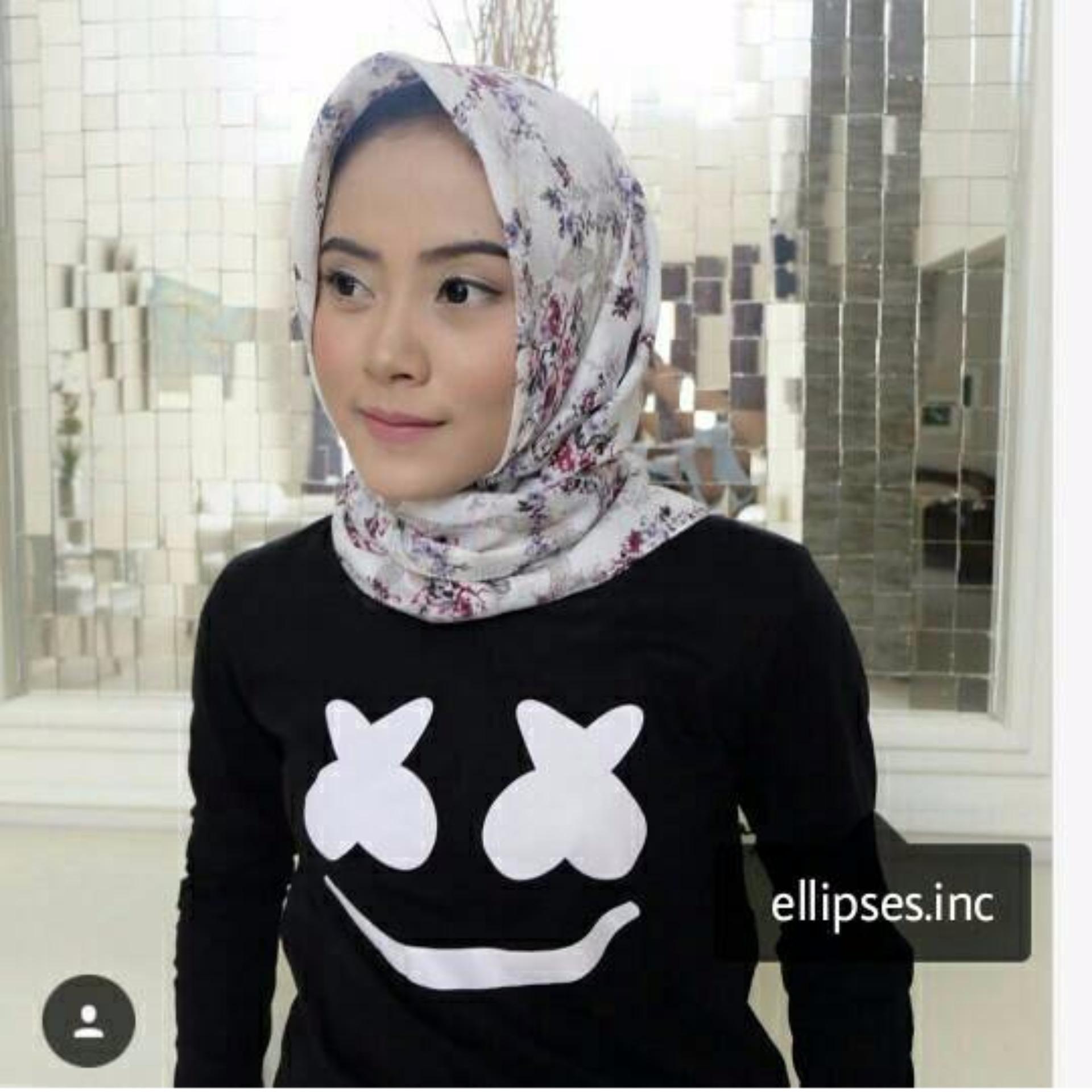 Flash Sale Tumblr Tee / T-Shirt / Kaos Wanita Marshmello - Hitam Lengan Panjang