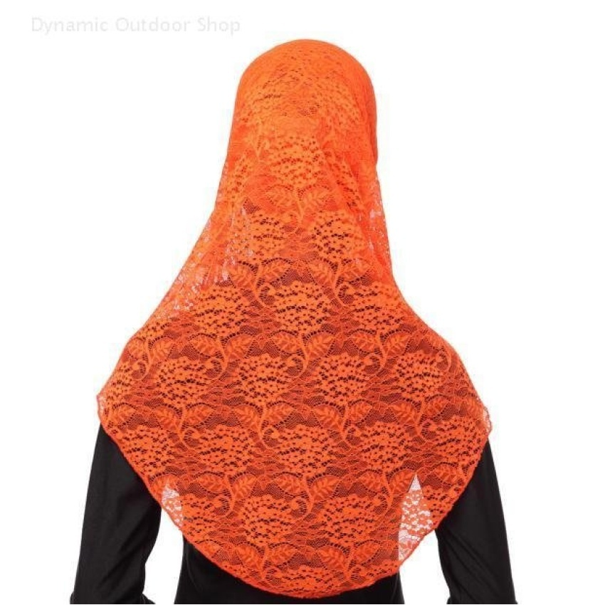 Two-piece Hijab muslim headscarf fashion lace women breathablehijab- Orange - intl .