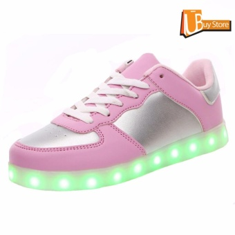 UBUY 2017 LED Women Party Light Up Casual Luminous Sneakers Flashing Fashion Sepatu Unisex (Pink)