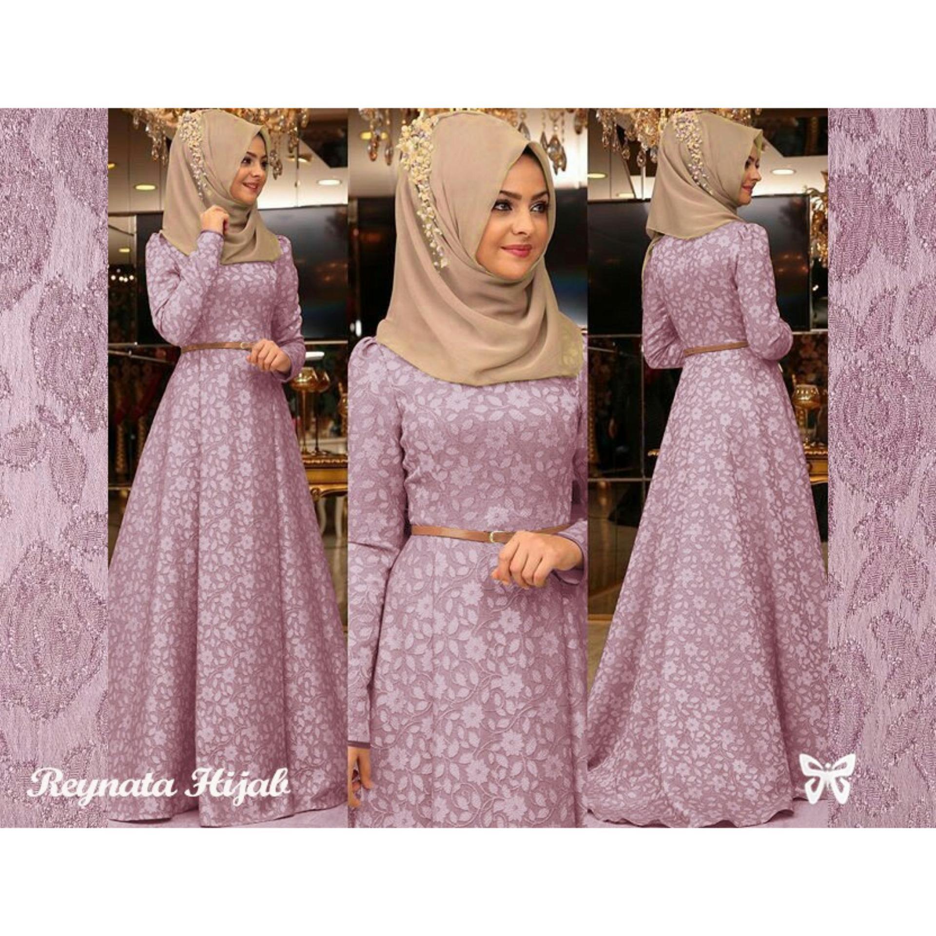 Fashionable UC Maxi Hijab Dress Gamis Muslim Rey/ Set Terusan Maxi Hijab .