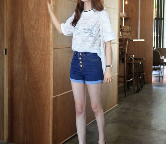 Detail Gambar Produk Ukuran lebih tinggi kualitas tinggi pinggang celana Jeans pendek wanita Denim celana pendek perempuan celana pendek sport hem (biru)- ...