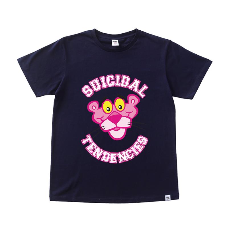 Ulzzang Korea laki-laki pecinta t-shirt merah muda lengan pendek t-shirt