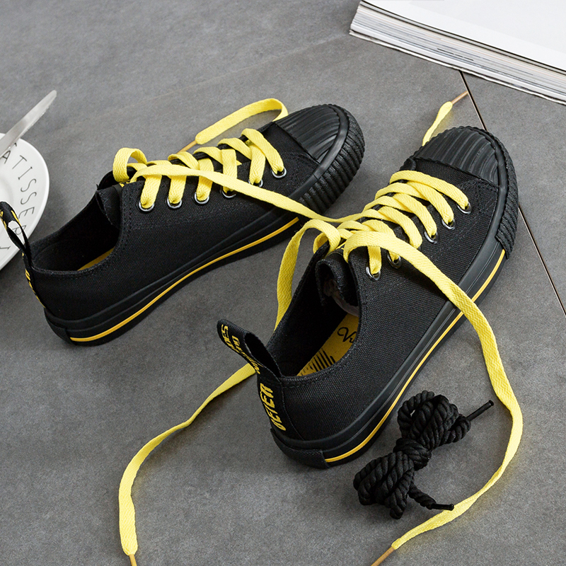 UlzzangBai the ride lace flat student shoes to help low canvas shoes (Hitam)
