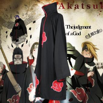 Unisex Cosplay Kostum Jepang Anime Naruto Itachi Akatsuki Cosplay jubah jubah Cape Hood mantel Pesta Costumes