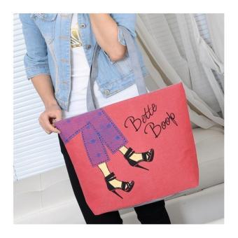 Galeri Gambar Universal Tas Fashion Wanita Tote Bag Canvas-Motif Denim Merah Lengkap
