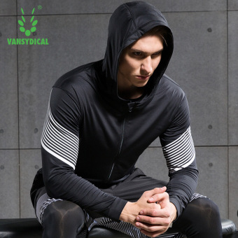 VANSYDICAL Men Fashion Quickly Dry Coat Lightweight Sports Running Zippered Hoodie Thin Jacket(Black&White)