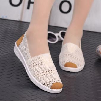 Detail Gambar Vendoor BXW0062 Kasual Wanita Sepatu Flat Slip-Ons Krem dan Variasi Modelnya