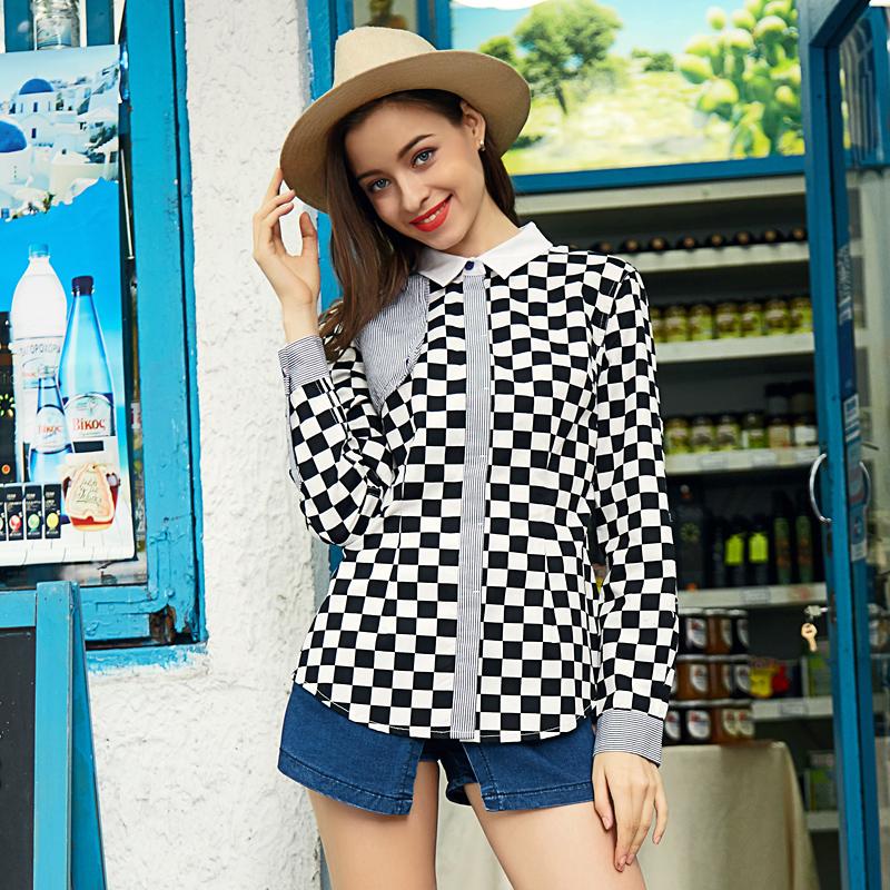 ... Flash Sale Veri Gude gaya Inggris perempuan lengan panjang Slim kasual kemeja kotak kotak baju