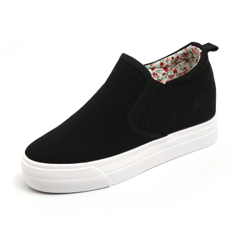 Versatile in the by Gao Xiaobai shoes women a pedal white canvas shoes (Hitam)