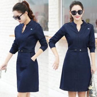 Versi Korea adalah OL tipis Slim denim dress denim rok (Biru tua)