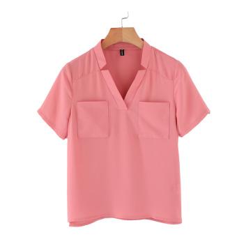 Gambar Versi Korea baru v neck lengan pendek kemeja sifon t shirt (Semangka merah)
