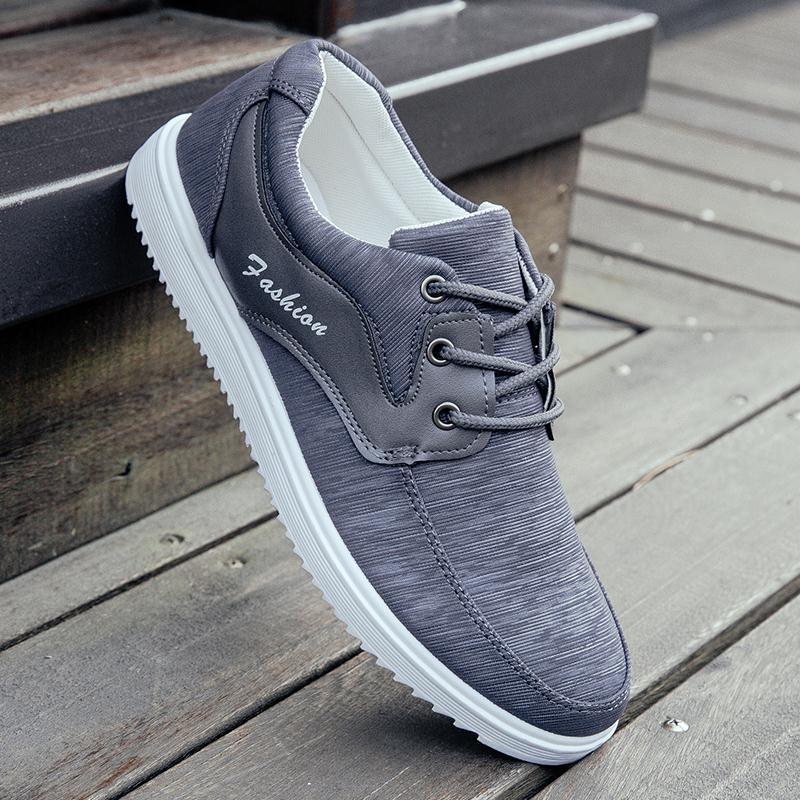 Flash Sale Versi Korea bernapas siswa sepatu pria sepatu (Abu-abu)