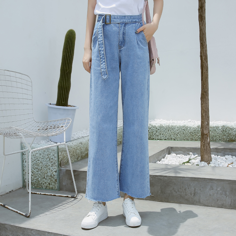Versi Korea berwarna terang pinggang tinggi baru jins lurus denim celana lebar kaki (Cahaya biru