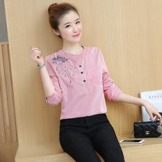 Versi Korea bordir perempuan lengan panjang kemeja longgar kemeja bergaris-garis (Garis-garis