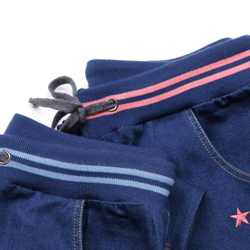 Versi Korea bordir siswa SMP celana jeans lurus celana (Denim biru (benang merah)