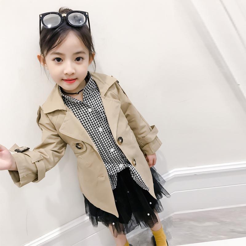 Flash Sale Versi Korea dari anak-anak baru mantel gadis mantel (Gelap khaki)
