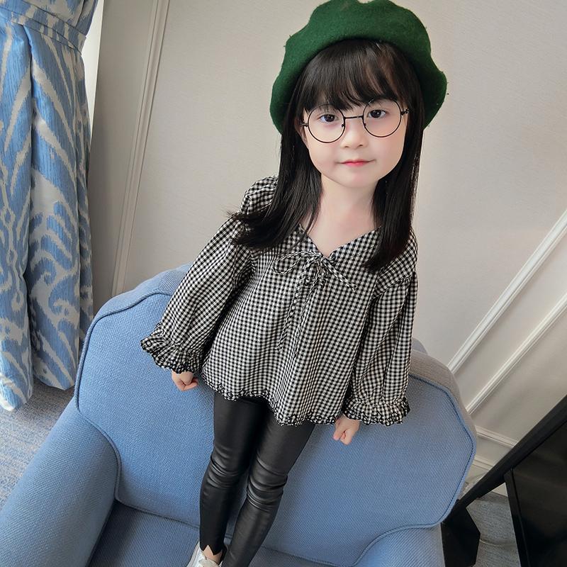 Versi Korea dari anak-anak tanduk Lengan Panjang t-shirt anak perempuan Wawa Shan