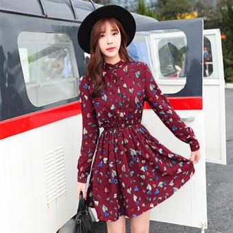 Perbandingan harga Versi Korea dari anak Musim Semi dan Gugur lengan panjang gaun sifon rok lipit