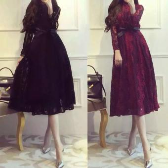 Pelacakan Harga Versi Korea dari bagian panjang adalah lengan tipis gaun gaun pengiring pengantin (Hitam