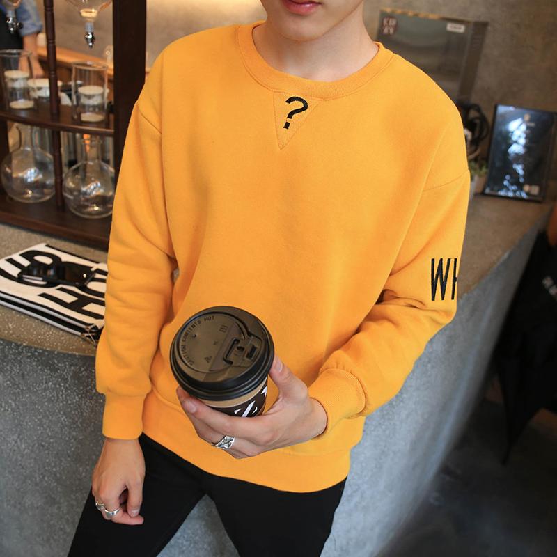Flash Sale Versi Korea dari beludru musim gugur sweater pria sweater (Kuning (tanda tanya