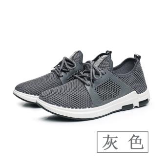 Versi Korea dari bernapas sepatu lari kasual sepatu pria (8702 abu-abu)
