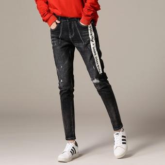 Gambar Versi Korea dari celana Slim baru celana jeans (Hitam) (Hitam)