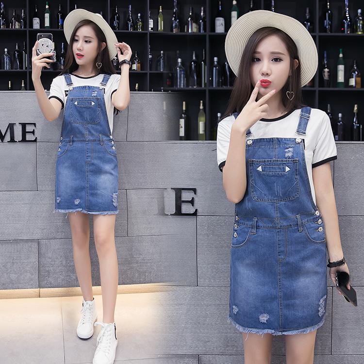 Flash Sale Versi Korea dari denim Slim adalah tali tipis gaun rok (Biru navy)