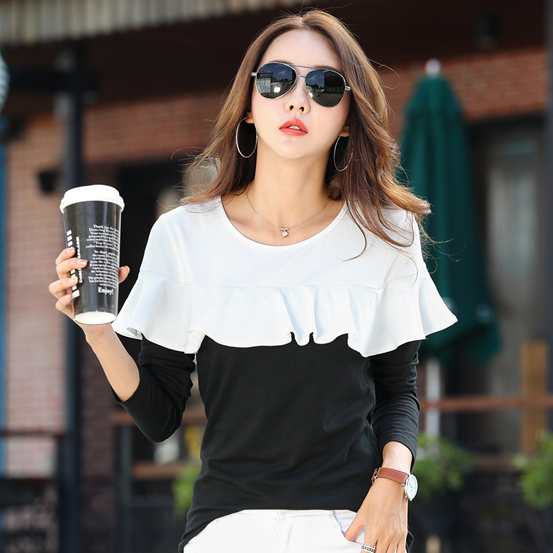 Versi Korea dari hitam dan putih longgar yang tidak teratur bottoming kemeja baru lengan panjang t
