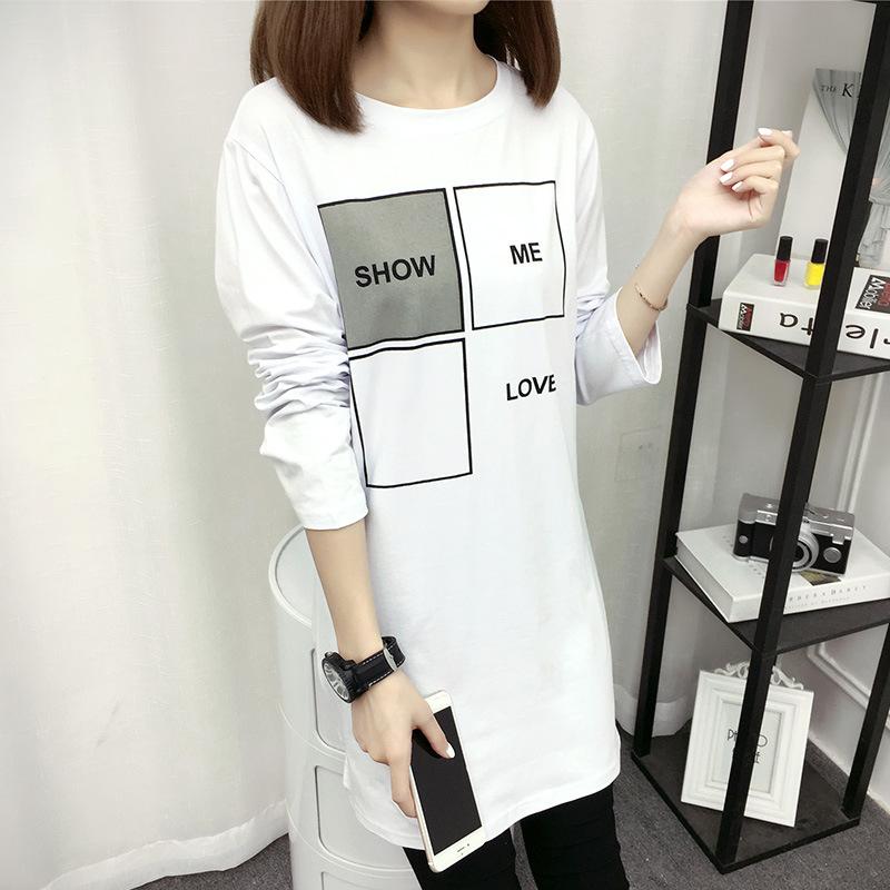 Flash Sale Versi Korea dari huruf perempuan dicetak longgar blus t-shirt (Putih)