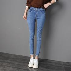 Versi Korea dari jeans hitam perempuan pinggang tinggi celana pensil bottoming celana (Biru muda)