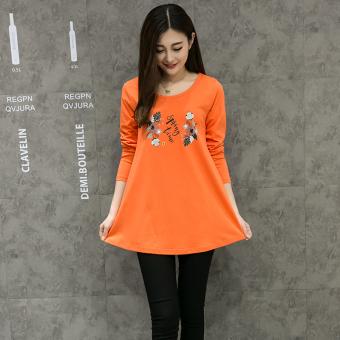 Bandingkan Simpan Versi Korea dari kapas perempuan baru blus t-shirt (Oranye musim semi