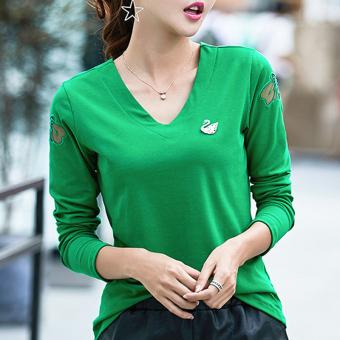 Review of Versi Korea dari kapas perempuan kemeja bottoming tipis fashion wanita t-shirt (