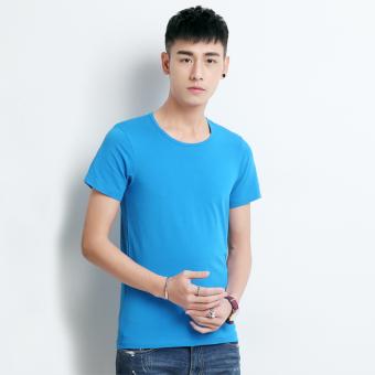 Gambar Versi Korea dari katun warna solid pria bottoming kemeja t shirt ( Biru)