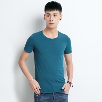 Gambar Versi Korea dari katun warna solid pria bottoming kemeja t shirt ( Biru tua)