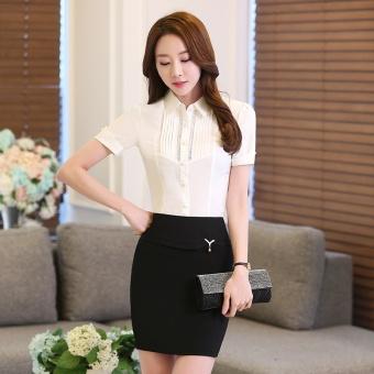 Gambar Versi Korea dari kemeja sifon perempuan lengan pendek baru (Putih) (Putih)