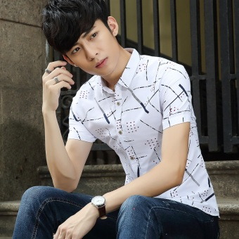 Versi Korea dari laki-laki remaja bunga pria kemeja lengan pendek kemeja ( Biru NAVY