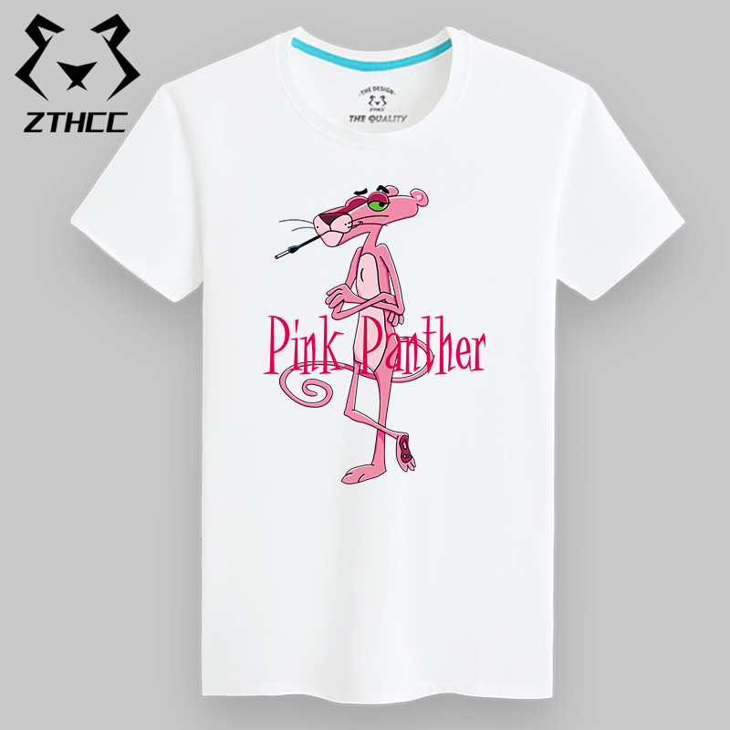 Versi Korea dari lengan pendek leher bulat pria t-shirt (Putih Pink Panther merokok