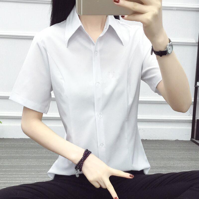 Versi Korea dari lengan pendek pakaian kerja lengan pendek pakaian putih perempuan kemeja (Putih v