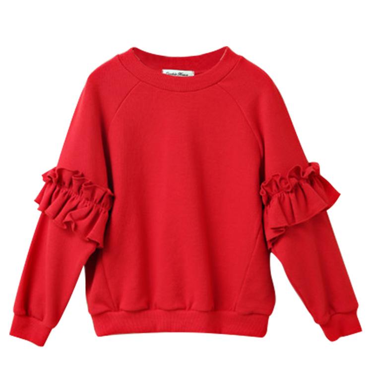 Versi Korea dari longgar lengan panjang kemeja pullover ayat pendek sweater (Merah)