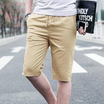 Gambar Versi Korea dari luar mengenakan sabuk besar celana pendek celana (1608 khaki 1619 biru