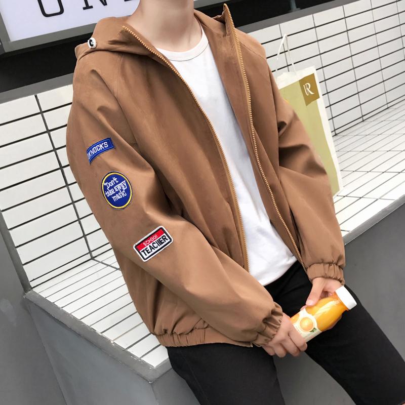 Flash Sale Versi Korea dari musim gugur baru olahraga berkerudung jaket pria jaket (Khaki)