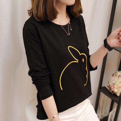 Versi Korea dari musim gugur wanita baru bottoming kemeja t-shirt (753 hitam)