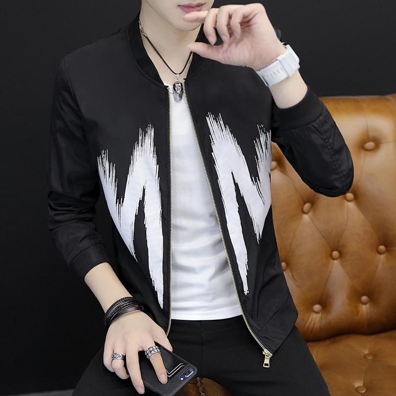 Cheap online Versi Korea dari musim semi baru pria Musim Semi dan Gugur mantel jaket (Huruf hitam)
