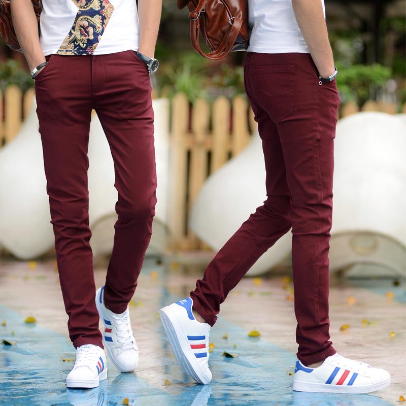 Flash Sale Versi Korea dari peregangan Slim celana kaki celana celana kasual (Anggur merah)