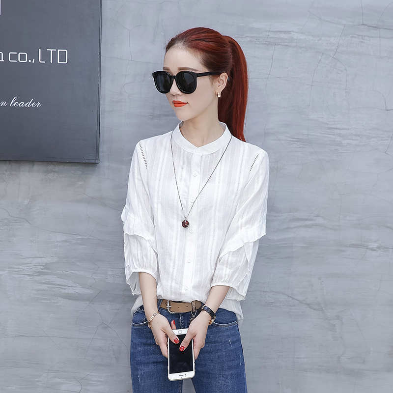 Versi Korea dari perempuan baru longgar kelelawar kemeja lengan kemeja lengan kemeja (Putih)