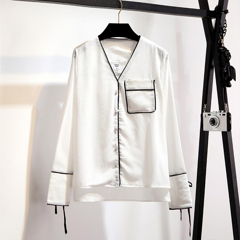Versi Korea dari perempuan baru longgar lengan panjang kemeja piyama (Putih)